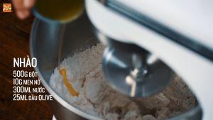 Đam Mê Ẩm Thực Cho-500g-bột-mì-đa-dụng-10g-men-nở-300ml-nước-25ml-dầu-Ôliu-10g-muối4
