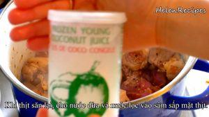 Đam Mê Ẩm Thực Khi-thịt-săn-lại-cho-nước-dừa-và-nước-lọc-vào-sâm-sấp-mặt-thịt