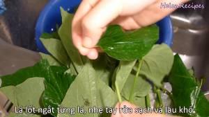 Đam Mê Ẩm Thực Ngắt-từng-lá-nhẹ-tay-rửa-sạch-Lá-Lốt-và-thấm-khô2