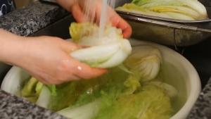 Đam Mê Ẩm Thực Sau-2-tiếng-ngâm-trong-nước-muối-cho-cải-thảo-vào-chậu-nước-lạnh-rửa-sạch-vài-lần2