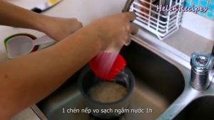 Đam Mê Ẩm Thực Vo-sạch-gạo-nếp-và-ngâm-nước-trong-1-giờ