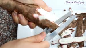 Đam Mê Ẩm Thực Sắn-loại-bỏ-vỏ-ngâm-nước-vài-lần-loại-bỏ-chất-độc-dammeamthuc.com_